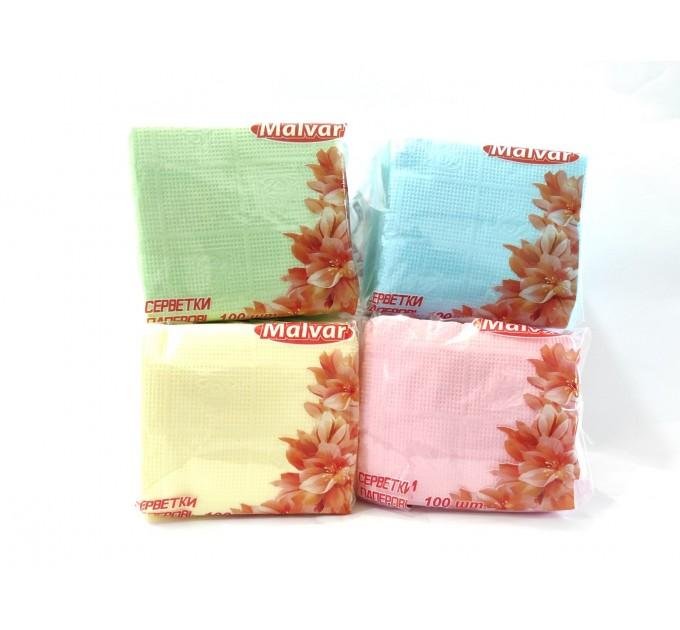 Серветкі сухі Malvar 100 шт кольорові (рожеві, жовті, блакитні, зелені)