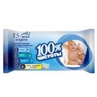Серветки вологі  15 шт Ромашка 100% чистоти