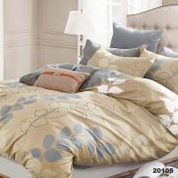 Комплект двоспальний 20105 спокійний бежевий з сірим листочки Вілюта Viluta ранфорс