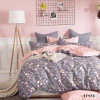 Комплект двоспальний 17173 романтичний рожевий з сірим квіти Вілюта Viluta ранфорс