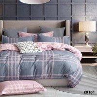 Комплект двоспальний 20101рожевий з сірим геометричний малюнок Вілюта Viluta ранфорс