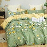 Комплект двоспальний 21142 зелений жовтий квіти Вілюта Viluta ранфорс