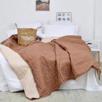 Набір покривало стьогане коричньове капучіно розмір 210*220 см з подушками
