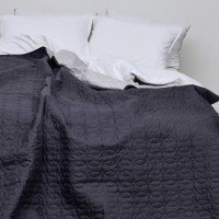 Набір покривало стьобане графіт сіре  розмір 210*220 см з подушками